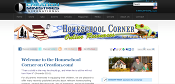 Homeschool Corner on Creation Ministries Website